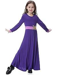 Dreamskull Mädchen Kinder Muslim Abaya Dubai Dress Muslimische Girls Kleider  Kleidung Abendmode Abendkleider Pullover… 4e63db498e