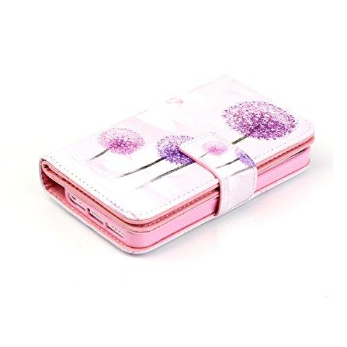 iPhone 5S Coque, iPhone SE Coque, Lifeturt [ Pivoine ] Leather Case Wallet Flip Protective Cover Protector, Etui de Protection PU Cuir Portefeuille Coque Housse Case Cover Coquille Couverture avec Fon E02-Violet Dandelion