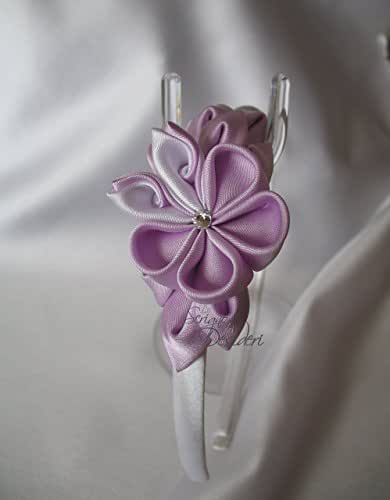 Fiori Kanzashi.Cerchietto Con Fiori Kanzashi Lilla E Bianco Amazon It Handmade