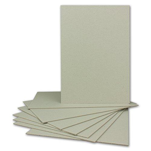 10 Stück Buchbinderpappe DIN A5 | Stärke 1,5 mm | Grammatur: 920 g/m² | Format: 21,0 x 14,8 cm | Farbe: Grau-Braun | 10 Stück