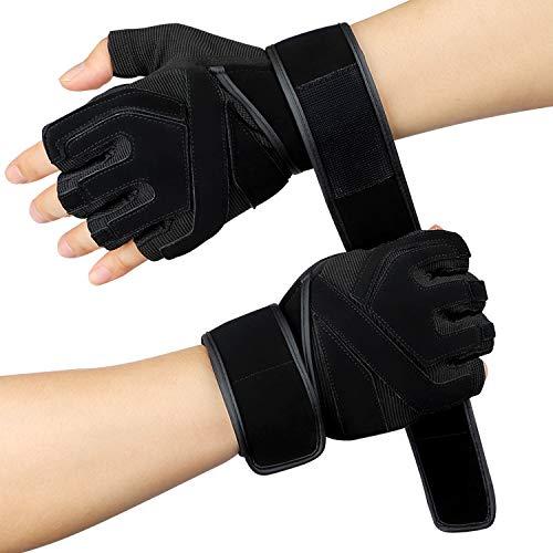 Hotchy Fitness Handschuhe, Semi-Finger atmungsaktiv rutschfeste Handgelenkschutz Männer und Frauen Bodybuilding Sport Trainingshandschuhe für Krafttraining Gewichtheben, Radfahren - L