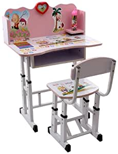 Fab N Funky Study Table With Chair Set - Pink (Pink)