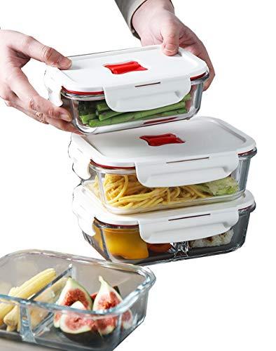 0b54afa9d6a4 YW-Crisper Contenedor de Almacenamiento de Alimentos con Compartimiento,  Unidad de Control de 2 Habitaciones con Tapa (4 Piezas, 34 oz)