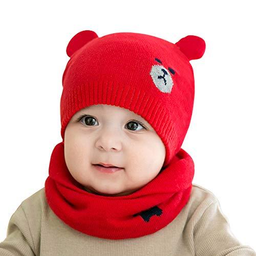 ADESUGATA Baby Kinder Winter Warm Gestrickter Mütze Schal Sets,Kleinkind Kinder Warme Beanie Mütze Weiche Baumwollkaps Schals Hüte für Baby Mädchen Jungen Säuglings Kinder 0-36 Monate (Rot)