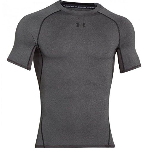Under armour, heatgear armour ss, maglietta a maniche corte, uomo, grigio (carbon heather/black 090), m