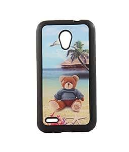 Exclusive 3D Design Effect Rubberised Back Case Cover For Intex Aqua 3G+ PLUS - Teddy Bear