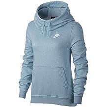 Nike W NSW FNL FLC Sudadera, Mujer, Azul (Ocean Bliss/Htr/Ocean Bliss/White), S