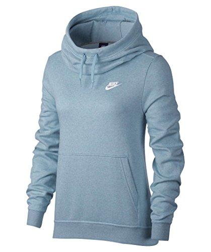 Nike Damen Sportswear Funnel Fleece Langarm Oberteil mit Kapuze, Ocean Bliss/Heather/Ocean Bliss/(White), L