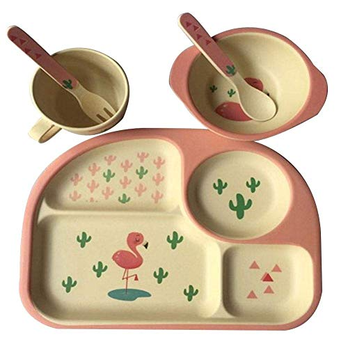S/s Bamboo (CWeep Dinner Set Children''s Bamboo Fiber Cutlery Baby Feeding Bowl Fork Spoon Cup Environmentally Friendly Cartoon Tableware Plates dinnerware eco Dishwasher Plate self-Feeding Feeding (Red))