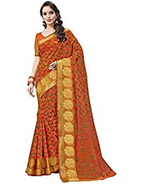 Aarti Apparels Women's Designer Cotton Saree_Orange_CRYSTAL-6202