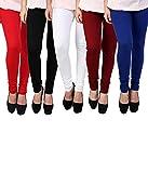 Trasa Leggings for Womens and Girls Cotton Lycra Multicolour Churidar Leggings - XXXL - Red, Black, White, Maroon, Royal Blue (Brand Outlet)-Pack of 5