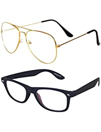elegante Combo of Golden Aviator and Transparent Wayfarer Eyeglasses & Sunglasses