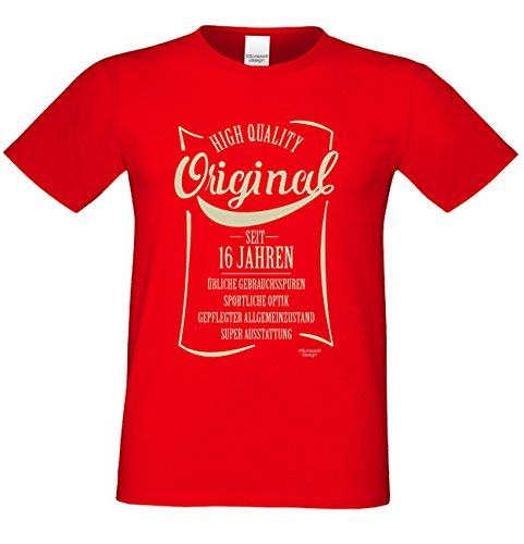 Herren-Sprüch-Motiv-Fun-T-Shirt :-: Original seit 16 Jahren Geschenkidee Geschenk zum 16 Geburtstag auch Übergrößen 3XL 4XL 5XL Farbe: rot Rot