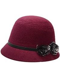 Sombrero De Campana Para Mujer De Sombrero Fieltro Sombrero Elegante Melón Sombrero  Años 20 De Invierno 38901cbe399