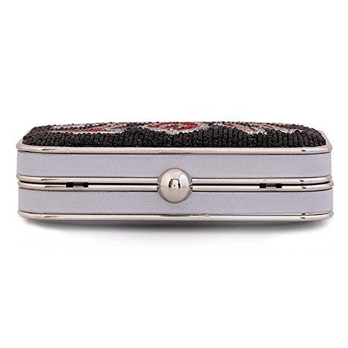 ERGEOB® Donna Clutch sacchetto di sera borsetta mano-perla taschino diamante Clutch Chic Hot Rock Hot