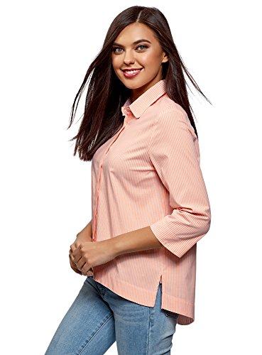 Oodji ultra donna camicia taglio morbido con orlo asimmetrico, rosa, it 44 / eu 40 / m