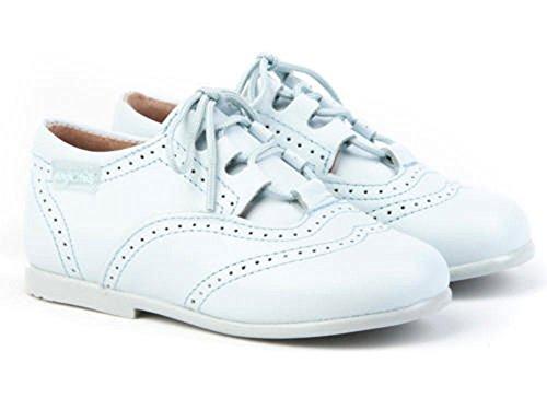 ANGELITOS Zapatos inglesitos de Piel Para Niña y Niño Unisex Color Celeste. Marca Modelo 505. Calzado...