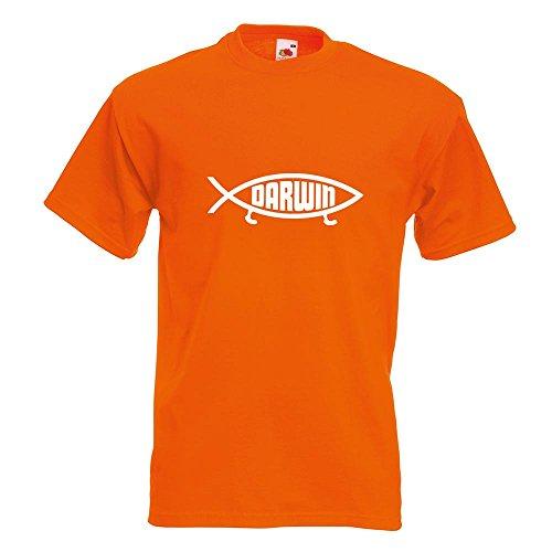 KIWISTAR - Darwin Fisch T-Shirt in 15 verschiedenen Farben - Herren Funshirt bedruckt Design Sprüche Spruch Motive Oberteil Baumwolle Print Größe S M L XL XXL Orange