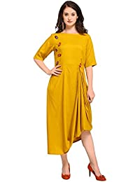 Inddus Yellow Cotton Rayon Solid Asymmetric Flared Dress