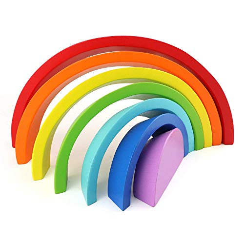 Imagen para Afunti De Madera Arco Iris Apilado Juego Aprendizaje Juguete Geometría Bloques De Construcción Juguetes Educativos para Niños Bebé 7 Colores