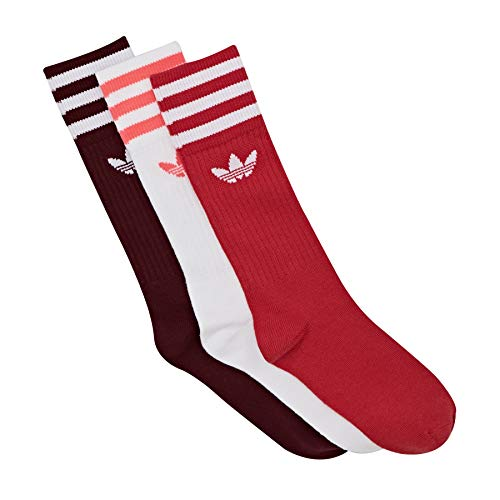 adidas Solid Crew Sock 3 Pack Socks, Hombre, Collegiate Burgundy/Scarlet/White, 39-42