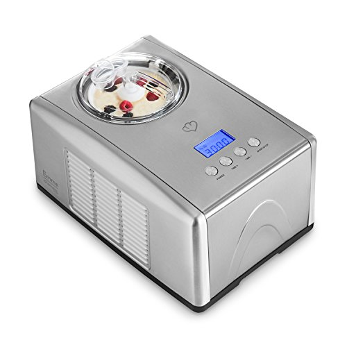 Eismaschine Emma mit selbstkühlendem Kompressor von Springlane Kitchen 1,5 L Ice-Cream-Maker aus Edelstahl mit Abschaltautomatik, entnehmbarem Eisbehälter mit Antihaftversiegelung und LCD Display
