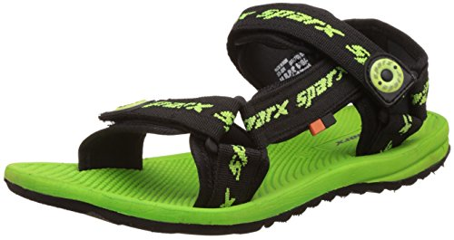 Sparx Men's Black and Fluorescent Green Athletic & Outdoor Sandals - 8 UK/India (42 EU)(SS-0801)