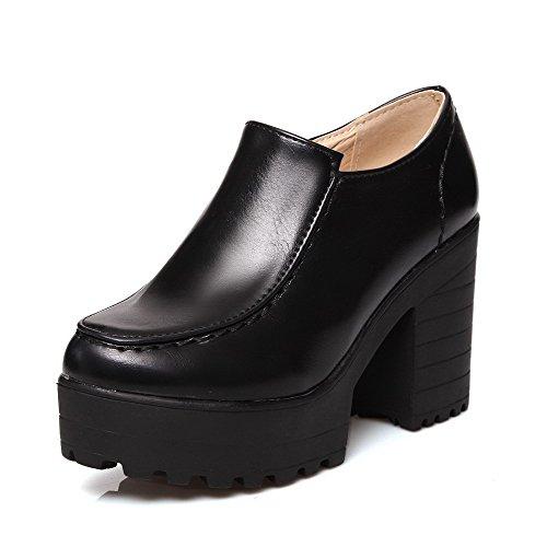 AllhqFashion Femme Couleur Unie Pu Cuir à Talon Haut Rond Zip Chaussures Légeres Noir