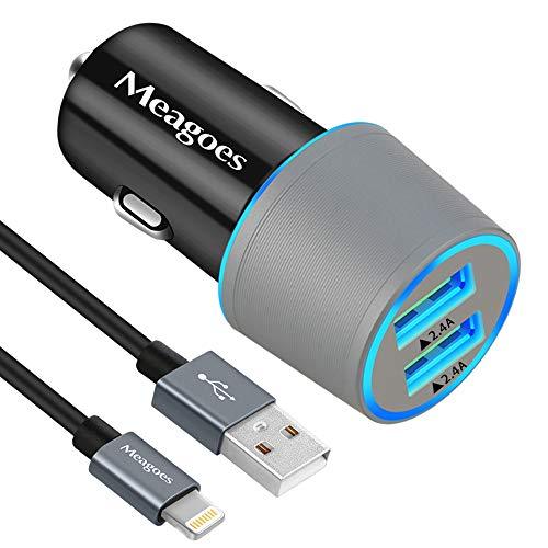 Meagoes, caricabatteria per auto per iPhone, certificato Apple MFi, compatibile con iPhone XS / 8/ 7 / 6,ecc. Adattatore per auto con doppia porta USB da 24 W