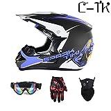 C-TK Motocross Casco D. O. T Certificazione Endurance Race ATV Casco, Elementi di Design di Moda,15,XL(58~59) CM