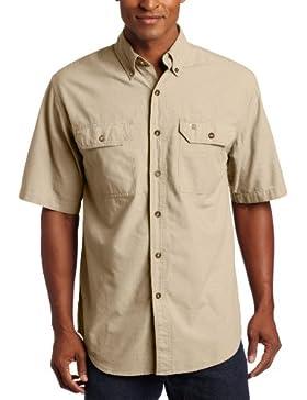 Carhartt uomo Fort a maniche corte camicia leggera chambray button-front S200, L, Dark Tan Chambray, 1