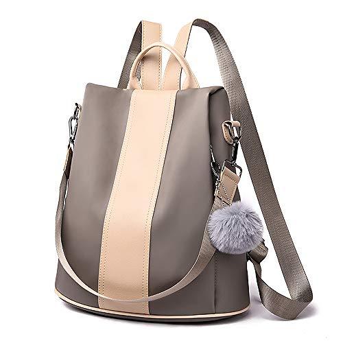 Damen Rucksack Wasserdicht Nylon Groß Schultaschen Anti-Diebstahl Tagesrucksack Handtaschen Daypack Umhängetasche Reiserucksack Schulrucksack Backpack Schultertasche (Khaki)