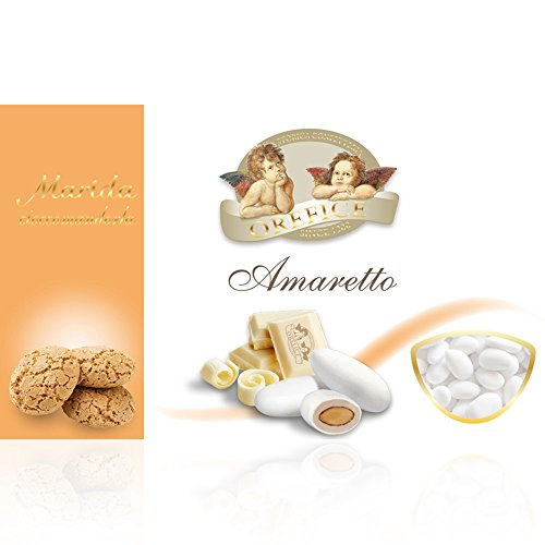 Italienisch Hochzeitsmandeln für Gastgeschenke mit Weiß Schokolade und Amaretto Kekse Geschmack | 90 Stücke