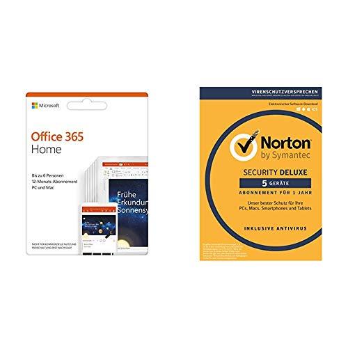 Microsoft Office 365 Home multilingual   6 Nutzer   Mehrere PCs / Macs, Tablets und mobile Geräte   Aktivierungscode in einer Box + Norton 360 Deluxe 2020   5 Geräte   1 Jahr   FFP   Download