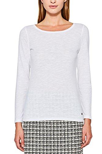 Esprit, T-Shirt à Manches Longues Femme Blanc (White 100)