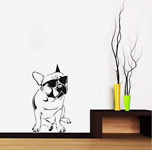 Bulldog Mit Sonnenbrille Wandaufkleber Hübscher Mode Hund Wandaufkleber Vinyl Wandtattoo Für Jungen Schlafzimmer Dekorative 33x59 cm