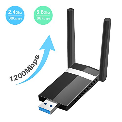 Wlan Adapter Dootoper USB 3.0 AC1200Mbps Mini Wlan Adapter, Wireless Dual Band( 5G/867Mbps + 2.4G/300Mbps WiFi Adapter für Windows XP/Vista/7/8/10 Mac OS X Linux