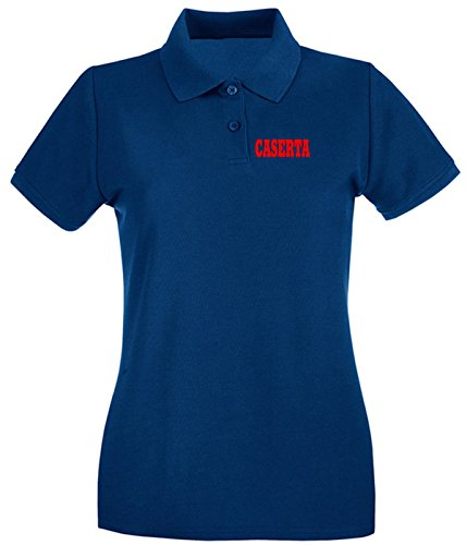 T-Shirtshock - Polo pour femme WC0868 CASERTA CAMPANIA ITALIA CITTA STEMMA LOGO Bleu Navy