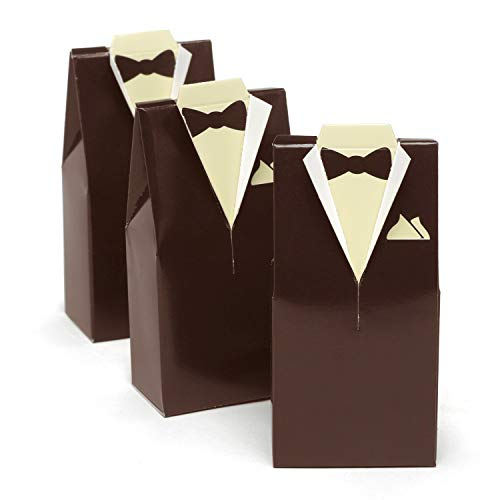 Hortense B. Hewitt Wedding Accessories Favor Boxes, Brown Tuxedo Design, 25 Count by Hortense B. Hewitt