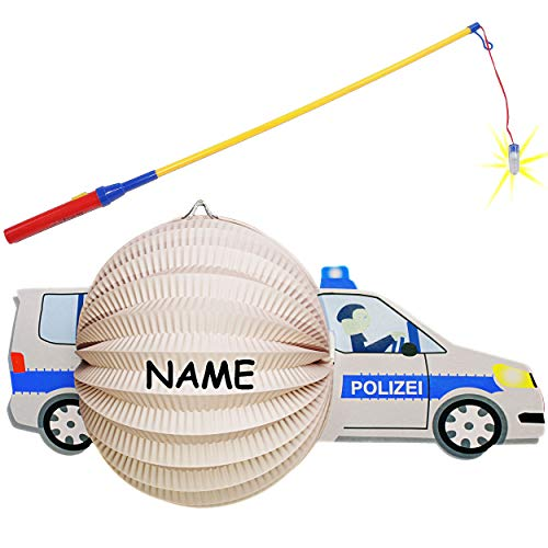 Set: Laterne / Lampion + LED Laternenstab - Polizei - Polizeiauto - für Kinder - Papierlaterne aus Papier - Lampe - Laternen Lampions - Figur - elektrischer L.. ()