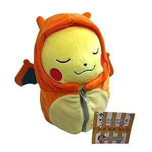 """Pokemon Mignon 9"""" peluche sac de couchage de style Dracaufeu Pikachu jouet - fermer les yeux"""