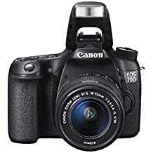 "Canon EOS 70D - Cámara digital de 20.2 Mp (pantalla táctil de 3"", mini-USB B, WiFi), color negro"