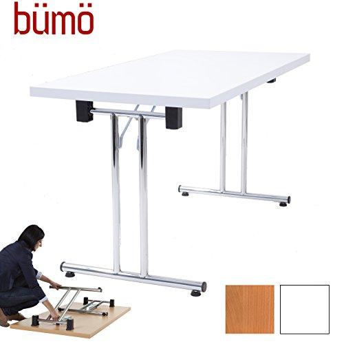 Bümö® Klapptisch stapelbar aus Holz- Stapeltisch klappbar | massiv mit stabilem Stahlgestell (verchromt) (Weiß, 160x80 cm)
