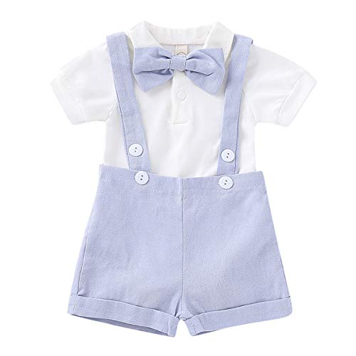 Puseky 2pcs / Set Bébé Garçons Gentlemen Suit Bow Tie Barboteuse & Jarretelles Pantalons Tenues (Color : Light Blue, Size : 6M-12M)