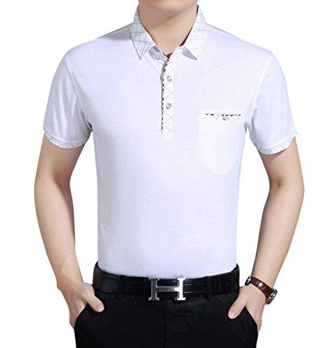 SOGXBUO Herren Button-down Poloshirt Weiß