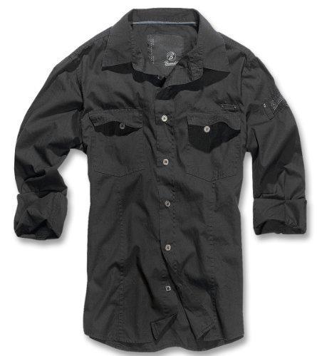BRANDIT Uomo Slim Shirt Camicia da Uomo B-4005 - cotone, Nero, 100 % 100% cotone cotone cotone 100%, Uomo, M