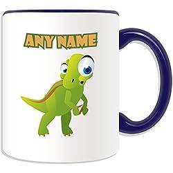 Regalo personalizado–Big-eye T. Rex taza (diseño de dinosaurios tema, colores)–cualquier nombre/mensaje en su única taza–Tyrannosaurus Rex Bone, cerámica, azul