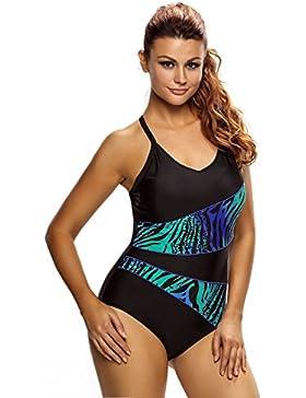 Da donna, colore: Nero e Blu asimmetrica stampa posteriore Cross One piece-costume monokini Beachwear sport taglia...
