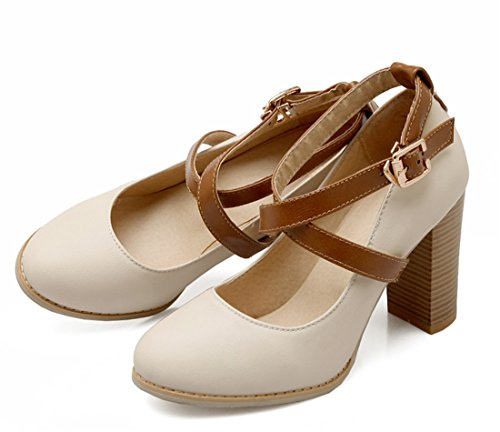 Damen Plateau Pumps Riemchen Runde Mit Heel Zehe Ye Geschlossene Blockabsatz Chunky Heels Beige Schuhe Elegante Schnalle 9cm High d5066q