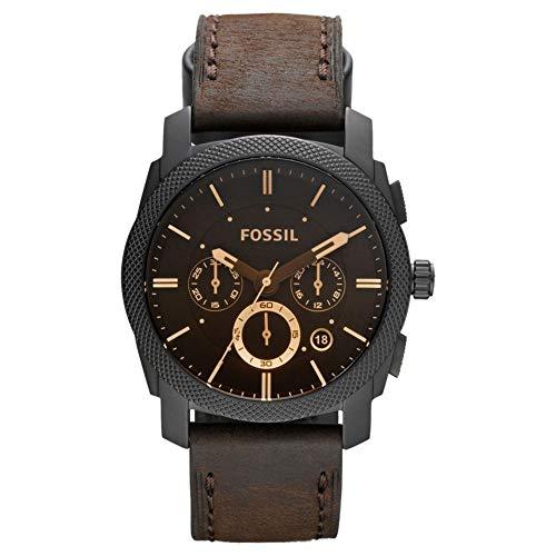 Fossil Herren Chronograph Quarz Uhr mit Leder Armband FS4656IE (Band Fossil Leder Uhr Herren)